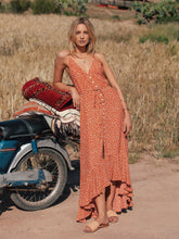 Load image into Gallery viewer, New Holiday Wind Sling V-neck Ruffled Wave Dot Print Bohemian Maxi Dress Long Skirt