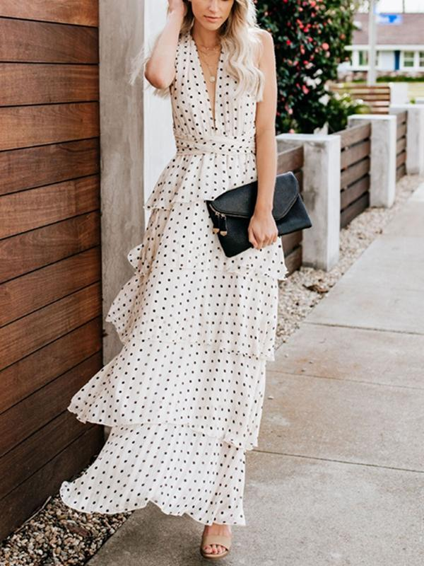 Women V-neck Wave Point Big Dress Long Dress Skirt Back