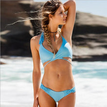 Load image into Gallery viewer, Braided Split Solid Color Swimsuit Sexy Bikini
