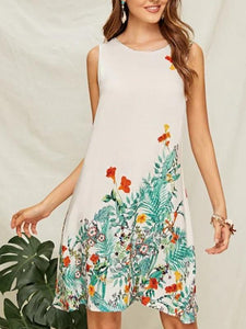 Boho Printed Slim Round Neck Sleeveless Vest A-line Dress