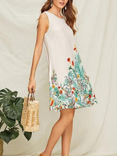 Load image into Gallery viewer, Boho Printed Slim Round Neck Sleeveless Vest A-line Dress