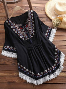 Large Size Summer Women's Retro Long Raglan Sleeves Round Neck Cotton Embroidered Cloak Top