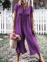 Load image into Gallery viewer, Five-color Eight-yard Button Wide-leg Pants Large Size Jumpsuit