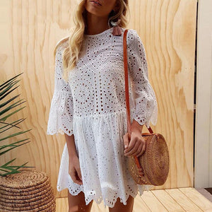 Colorful Cropped Sleeves Ruffled Dress Lace Princess Dress