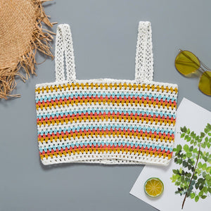 Hand Hook Color Vest Beach Holiday Handmade Knit Top