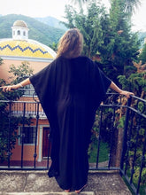 Load image into Gallery viewer, Black Oversized Blouse Bohemian V-neck Beach Holiday Long Dress