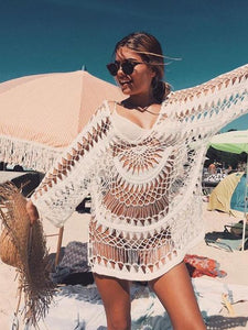 Handmade Hook Flower Beach Blouse Holiday Sun Protection Cover Up