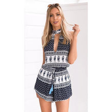 Load image into Gallery viewer, Bohemian Holiday Print Sleeveless Jumpsuit Shorts