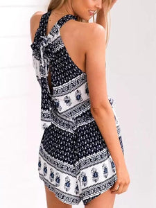 Bohemian Holiday Print Sleeveless Jumpsuit Shorts