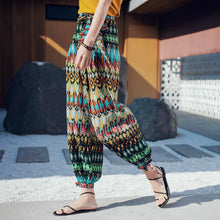 Load image into Gallery viewer, Bohemian Beach Alone Holiday Harem Pants Feet Pants National Wind Loose Long Pants