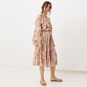 One-shoulder Sleeve Ruffled Lace Stitching Bohemian Dress