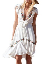 Load image into Gallery viewer, Bohemian Sexy Deep V-neck Lace-up Short-sleeved Embroidered Holiday Mini Dress