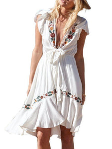 Bohemian Sexy Deep V-neck Lace-up Short-sleeved Embroidered Holiday Mini Dress