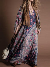 Load image into Gallery viewer, Printed V-neck Slim Bohemian Long Dress