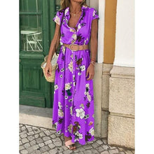 Load image into Gallery viewer, Bohemian Retro Ethnic Wind Holiday Wind V Neck Loose Waist Long Dress