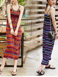 Bohemian Long Skirt Hanging Neck Color Beaded Striped Beach Dress Long Dress