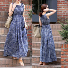 Load image into Gallery viewer, Bohemian Sleeveless Floral Dress Maxi Dress