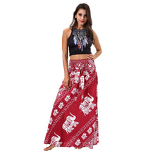 Load image into Gallery viewer, Elephant Print Beachwear Fashion Two Wear Tube Top Dress Strap Big Swing Skirt