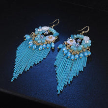 Load image into Gallery viewer, Fringed Vintage Bohemian Ethnic Style Crystal Earrings