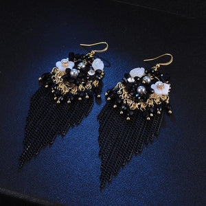 Fringed Vintage Bohemian Ethnic Style Crystal Earrings