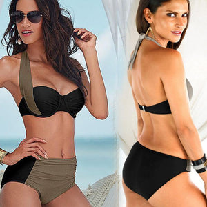 Colorblock Cross High Waist Triangle Split Bikini