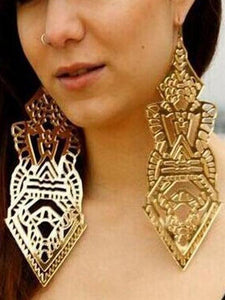 Exaggerated Symbol Long Hollow Pattern Big Earrings