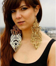 Load image into Gallery viewer, Exaggerated Symbol Long Hollow Pattern Big Earrings
