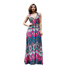 Load image into Gallery viewer, Boho National V-neck Print Large Size Beach Long Dress