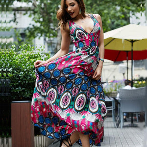 Boho National V-neck Print Large Size Beach Long Dress