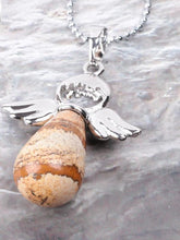 Load image into Gallery viewer, Little Angel Wing Round Drop Natural Stone Jewelry Pendant Necklace