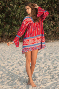 Boho Long-sleeved Ethnic Style V-neck Loose Print Mini Dress