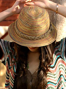 Summer Travel Sunscreen Beach Parent-child Straw Hat Rainbow Sun Hat Roll Cap