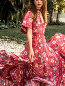 Bohemian Holiday Wind Dress Retro Peacock Print Lace Long Dress-1