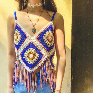 Hand-knitted Sling Openwork Vest Top