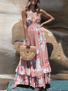 Bohemian Halter Lace Back V-neck Ruffled Long Dress