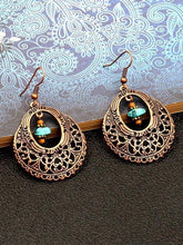 Load image into Gallery viewer, Fashion Vintage Alloy Openwork Round Flowers Turquoise Earrings