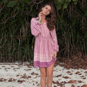 Boho Lapel Waist and Long Sleeve Printed Dress