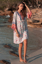 Load image into Gallery viewer, Bohemian Nine-point Sleeve V-neck Loose Ethnic Print Dress Skirt
