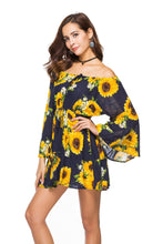 Load image into Gallery viewer, Boho Off-the-shoulder Sexy Dress Print Elastic Waist Tie with A Collar Beach Dress