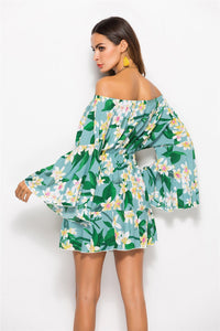 Boho Off-the-shoulder Sexy Dress Print Elastic Waist Tie with A Collar Beach Dress