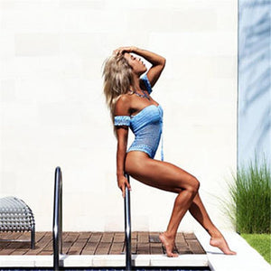 One Shoulder Sexy Hollow Crochet Solid Color One-piece Swimsuit Bikini