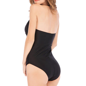 Sexy Solid Color Tube Top Vintage Nylon One Piece Swimsuit Bikini