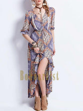 Load image into Gallery viewer, Bohemian Geometric Pattern Waist Irregular Long Dress