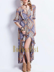 Bohemian Geometric Pattern Waist Irregular Long Dress