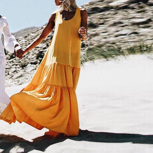 Bohemian Relaxed Casual Ruffled Stitching Solid Color Long Dress