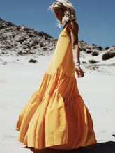 Load image into Gallery viewer, Bohemian Relaxed Casual Ruffled Stitching Solid Color Long Dress
