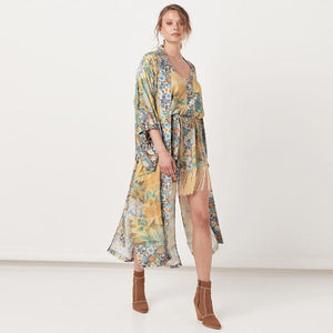 Holiday Print Splicing Lace-up Sleeve Sunscreen Cardigan Cover-up