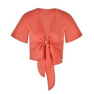 Solid Color Chiffon Breathable Bat Sleeve Bow Top Sun Protection Clothing