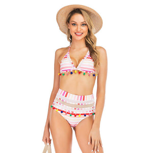 Mesh Fringed Ball Striped Sexy Swimsuit Bikini