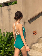 Load image into Gallery viewer, Bow Solid Color Beach Girl One-Piece Swimsuit
